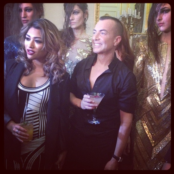 Vanessa White with @julienmacdonald &models after the show! #juliemacdonald #lfw #aw13  #thesaturdays #vanessawhite #backstage