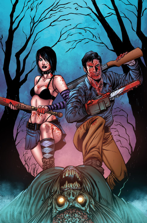 "horrorpunk:  Army of Darkness vs. Hack/Slash!  ""The six issue mini-series known as Army of Darkness vs. Hack/Slash begins with Cassie Hack trying to have a normal life after the events of Hack/Slash when she is attacked by a Deadite. However, Cassie isn't joined by Hack/Slash behemoth Vlad but Ashley J. Williams (a.k.a. Ash of Evil Dead and Army of Darkness fame). Now, the two must refrain from killing each other to find stolen pages from the Book of the Dead."" Coming July 2013!"