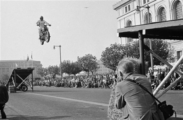 "1967, San Francisco — Evel Knievel jumps his 1967 Triumph motorcycle between two ramps, 100 feet apart, to open a Sports Cycle Exhibition.   ""You can fall many times in life, but you're never a failure as long as you try to get up."" ~Evel Knievel"