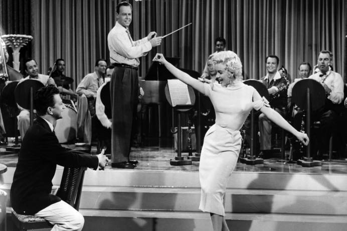 "Donald O'Connor and Marilyn Monroe in a scene from the film ""There's No Business Like Show Business"". (1954)  Click here to view this item in Hagley's Digital Archives."