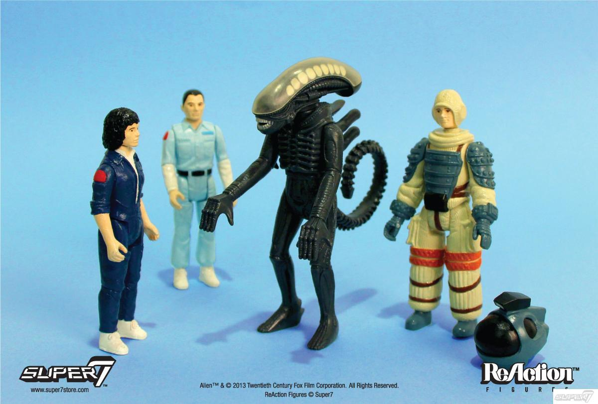Pre-Order Super7 Alien ReAction Figures at SDCC The above action figures were designed in 1979, but for whatever reason, were never released. Thanks to the magic of vintage love and an offering of Ash's milk blood, Super7 have unearthed the designs and have been cleared to produce the entire four-piece series. They launch in September, but pre-orders begin at SDCC 2013. Check it: More Super7 on Albotas Buy: Alien Anthology [Blu-ray]