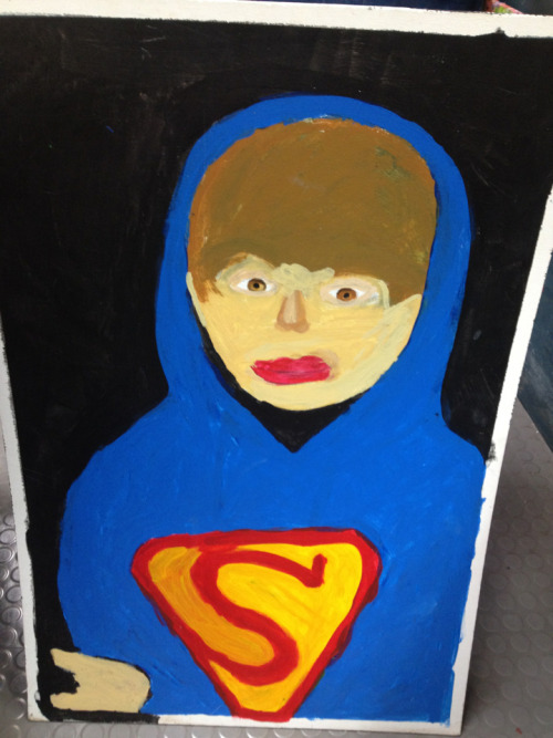 Peter Pulizzano's portrait of Justin Bieber. He's going to see him in concert in San Jose for his birthday