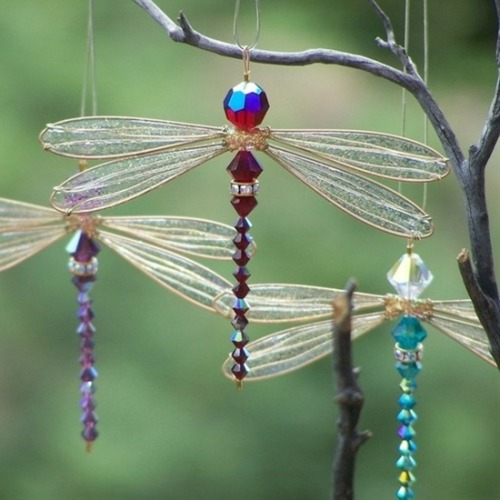 Beaded dragonfly sun catchers - Click image to find more Gardening photos