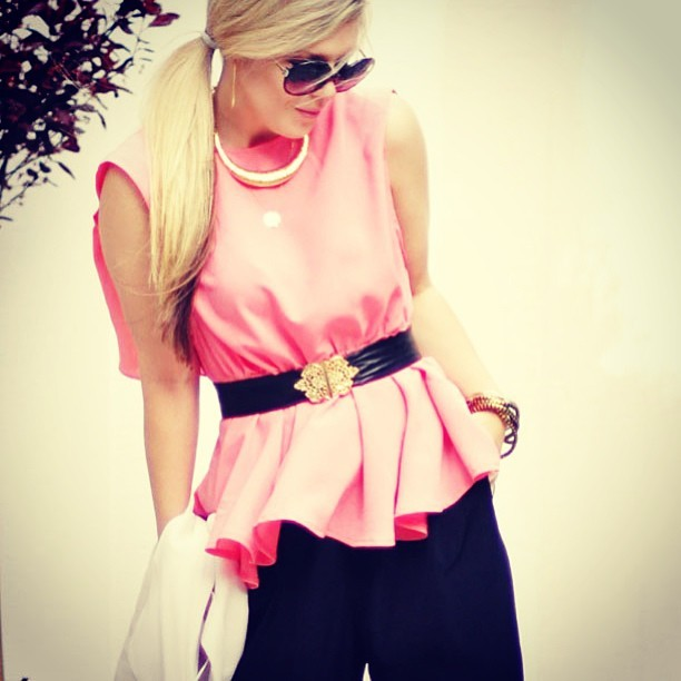 lovemaegan:  #ootd swinging peach peplum party ~ go to lovemaegan.com for #outfit details