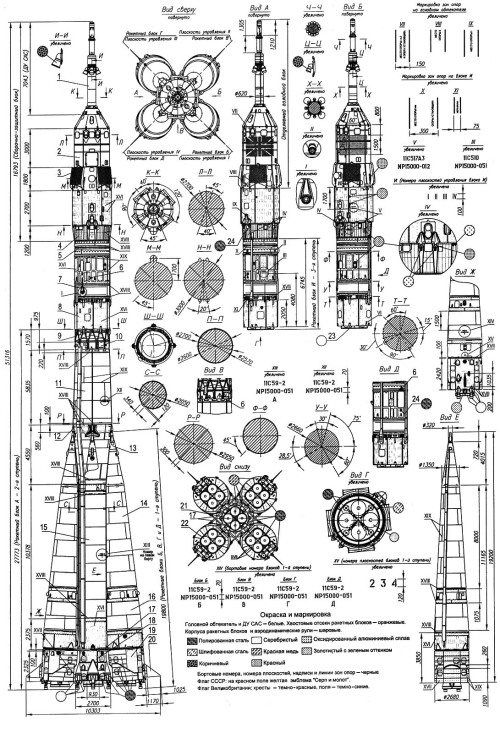 Blueprints for a rocket in the Soyuz family. This post is an inverted version of this image, via