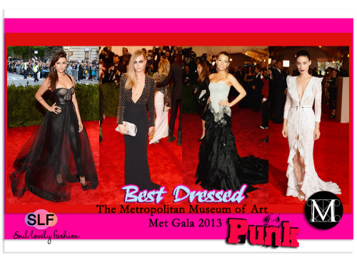 Our Top Best Dressed List @ Costume Institute Gala for the 'PUNK:  Chaosto Couture' exhibition at the Metropolitan Museum of Art 2013. Cara Delevingne in Spiky Burberry LBD. Blake Lively in Gucci Gown. Nina Dobrev in Monique Lhuillier Pants Dress. Rooney Mara in Givenchy Dress. May 7th, 2013 8:57  P.M. GMT.