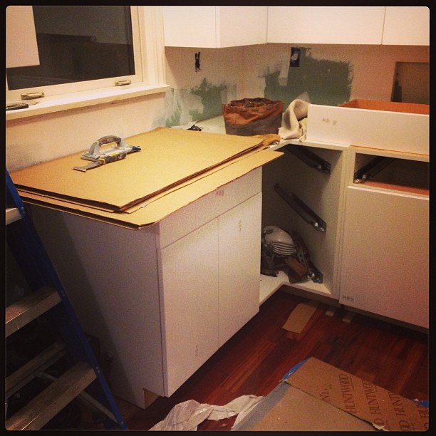 Initial kitchen cabinet install, early May 2013, West Seattle