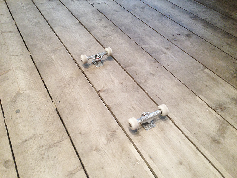 'Floorboard'© by Arran Gregory. 2013. Floorboards and trucks.