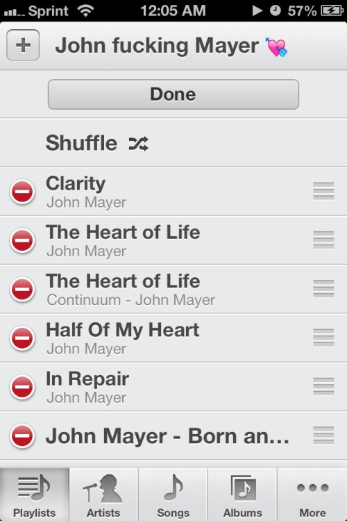 The playlist getting me through it all.