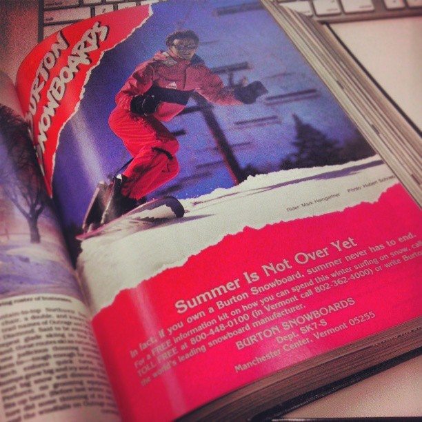 @burtonsnowboard ad from 1986. #burton #leashrequired
