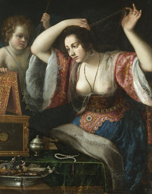 (after) Artemisia Gentileschi - A lady before a mirror (possibly Venus at her toilet) (c. 1655)