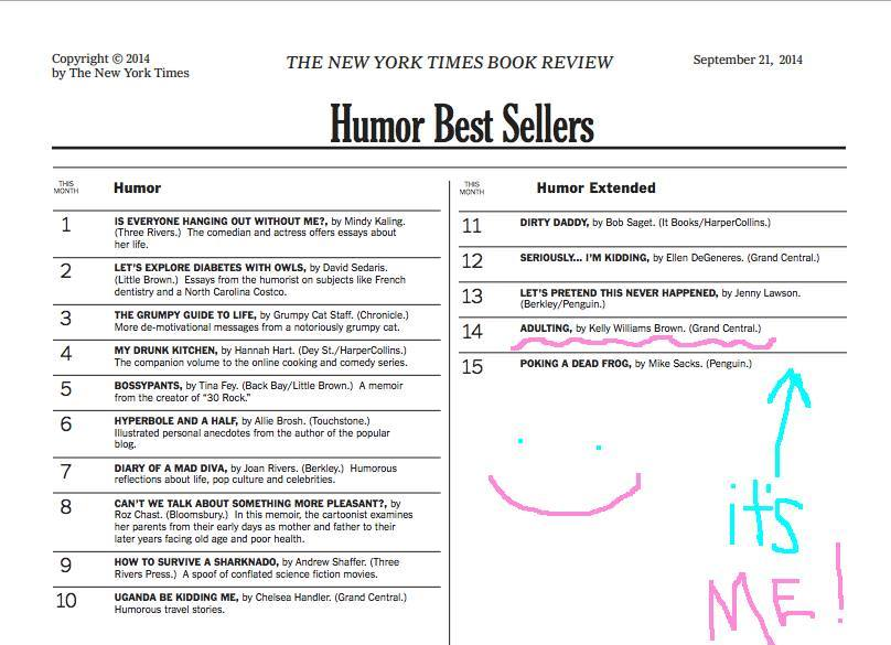Congratulations to Kelly Williams Brown, author of adulting, both Tumblr and book, on hitting the New York Times Best Sellers list!