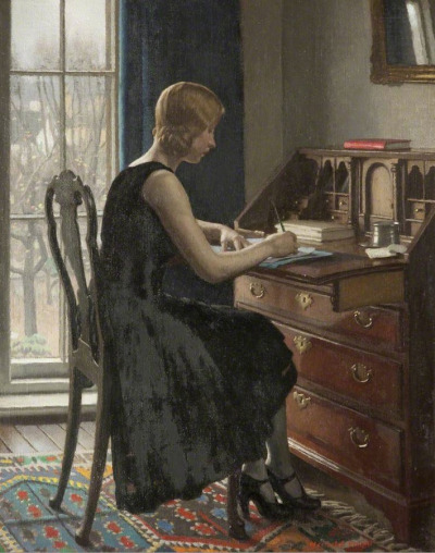 art-mirrors-art:  Harold Knight - Girl Writing (1931)