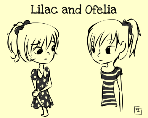 Quick doodles of new OCs Lilac and Ofelia for comic strips I'm thinking of doodling. They're twins!