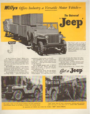 Willys Offers Industry A Versatile Motor Vehicle.