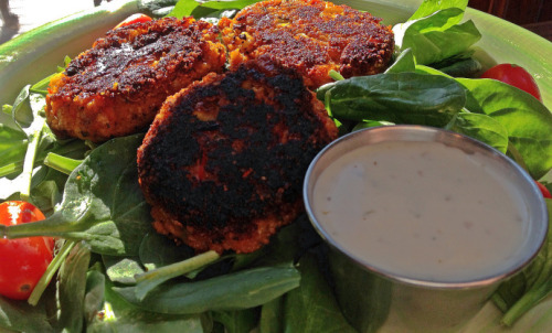 (Click here for recipe Sweet Potato Black Bean Cakes with Vegan Ranch)