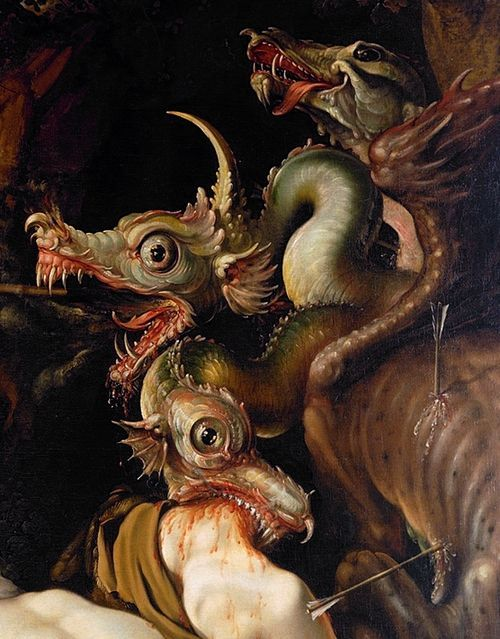 "gorettmisstag:  Hendrick Goltzius - ""Cadmus Slays the Dragon"" (1573 - 1617)"