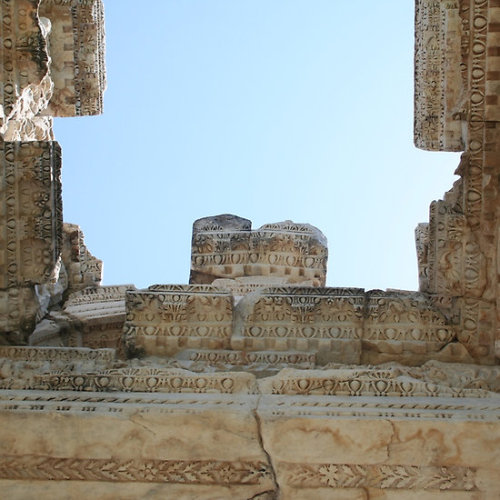 The Ceiling Of the Tetrapylon, Aphrodisias The tetrapylon (Four Gates) is so called as it is made up of four groups of four columns. It served as a ceremonial gateway.The gate is adorned with reliefs of Nike, Eros, animal figures and carved acanthus leaves. Follow the link to see all my The Tetrapylon gifts and collectables.Click the links to see all of my Redbubble Aphrodisias Paintings,Aphrodisias Photography, Aphrodisias Greeting Cards, Aphrodisias Stickers, Aphrodisias Tees,, Aphrodisias iPhone Cases and Aphrodisias iPads.    -——————————————————————————————————————————————————      *My Images Do Not Belong To The Public Domain. All images are copyright © taiche. All Rights Reserved. Copying, altering, displaying or redistribution of any of these images without written permission from the artist is strictly prohibited