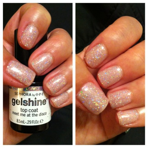 "Did my own gel nails with ""Meet Me At The Disco"" #glitter #picstitch #pretty #gelnails"