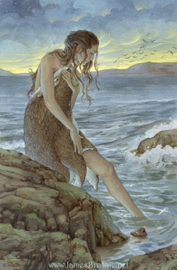 dear-minions:  Random Creature Feature: A Selkie is creature from mythology who can transform from seal to human, and is most widely associated with tragic tales. A selkie can choose to transform into a human form, and in many tales, upon seeing this form, a human falls in love with them. In one tale, the human hides the selkies skin so she can not transform, and they live together as a good couple until the day where she finds her skin and goes back to the sea, taking all the kids they had with her. The husband, broken hearted, dies alone. This image is from yaamas on Deviantart. Please give them a visit!