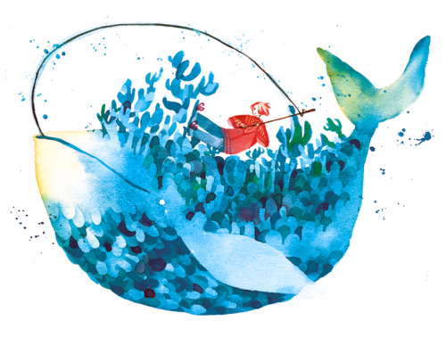 maruti-bitamin:  Big fish 4th new print for AN I really hope the blues print out ok…-=-;;; Watercolour + 140lb paper