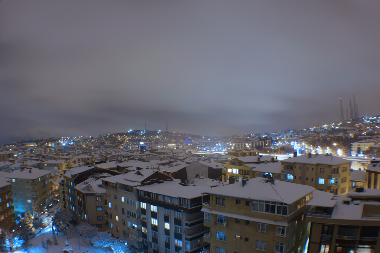 "Beautiful Snowy Night tonight in Istanbul. Shot on a Canon EOS Rebel T2i with a Canon 20-80 mm lens with a fisheye lens attachment. Shutter time 15"" f/ 10 IOS 100."