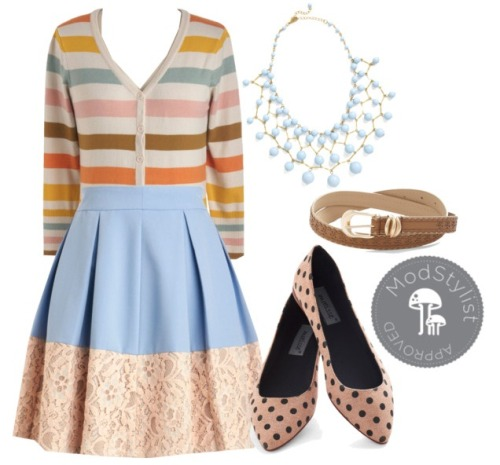 I adore this lovely ensemble featuring a plethora of spring trends like mixing patterns, pastels, and lace details! For a different look, try wearing a cardigan as a top.  <3 Chelsey, ModStylist Need styling suggestions, trend tips, or dress details? Ask a ModStylist and your question might be featured on our feed!