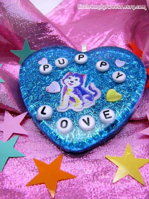 (via Puppy Love Lisa Frank Big Resin heart with by littlecandysweets)