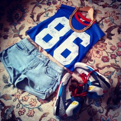 Why can't the weather be all nice and stuff. #OutfitIdeas#Outfit#jordans#jersey#goldchain#fashion#fashionclimax#denimshorts#summer#js#casual#style#swag#blahblahblah