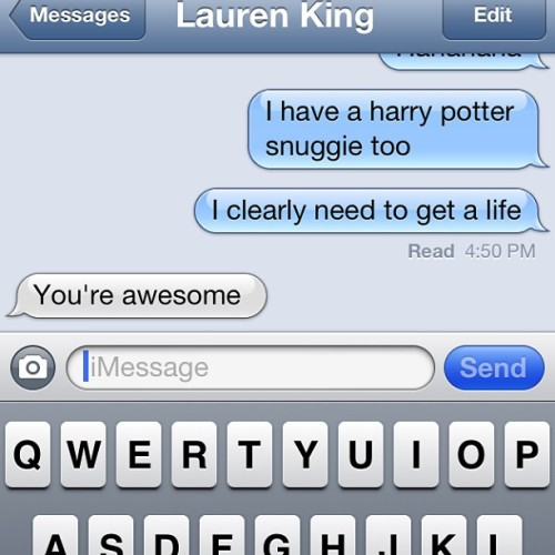 @laurking thinks im awesome :D #harrypotternerds