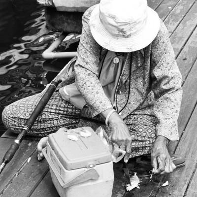 Old Lady Fishing, Bang Bao Pier, Ko Chang Island, Thailand. #thailand #kohchang #bangbao #fishing