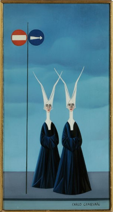 Carlo Canevari (1922 - 1996) - Nuns Waiting at a Crossing, n.d.
