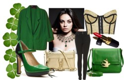 St. Patrick's Day: Night Look by pwalll featuring leather clutchesTopshop corset top / Worthington blazer / Topshop high waisted skinny jeans / Tommy Hilfiger mary jane heels / Rebecca Minkoff leather clutch / Juicy Couture crossbody handbag