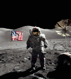 The last men on the Moon - picture of the day  Jack Schmitt's photograph was taken on a specially developed Hasselblad camera with a 70mm back, using a 60mm lens. The SO-368 Kodak Ektachrome film that was used in space was tougher and more reliable under difficult light conditions than the transparency film used on earth; it's thinness allowed them to shoot hundreds of frames without changing the magazine. The Apollo 17 crew were the last people to set foot on the moon and returned to Earth 40 years ago today.