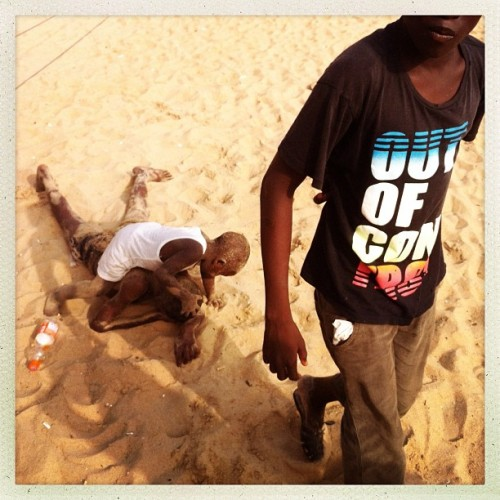 Young boys play on the beach in Grand-Bassam, Ivory Coast on January 13, 2013. Photo by Peter DiCampo @pdicampo #ivorycoast #grandbassam #beach #ocean #play #boys #kids #children #outofcontrol