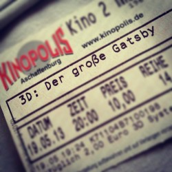Ein toller #kinoabend #thegreatgatsby #dergroßegatsby #kinopolis #aschaffenburg #pärchenabend #greatmovie #tollegeschichte #movie #cinema ❤