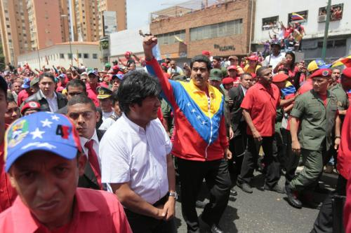 Maduro and Morales at the funeral of Hugo Chavez