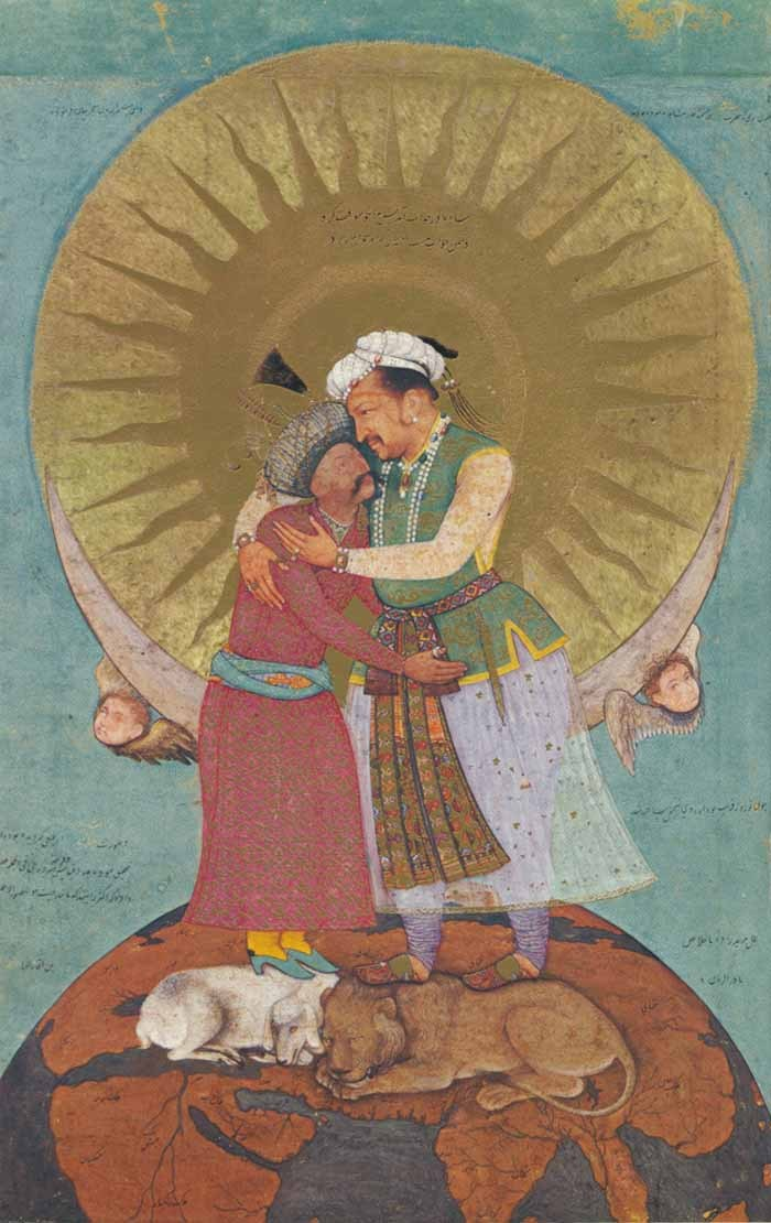 missalsfromiram:  Jahangir's Dream (Jahangir, Mughal Emperor, embraces Abbas the Great, Shah of Iran) - c. 1620