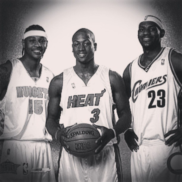 lilronnie4259:  ~KINGS OF THE COURT~ #CAnthony15 #DWade3 #LJames23 #NBA #Nuggets #Heat #Cavaliers #Legends #Ballin #Kings