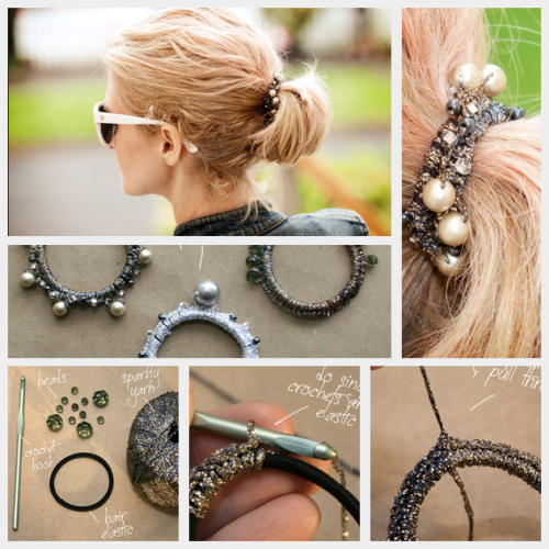 Beaded hair elastic, tutorial by Trinkets in Bloom