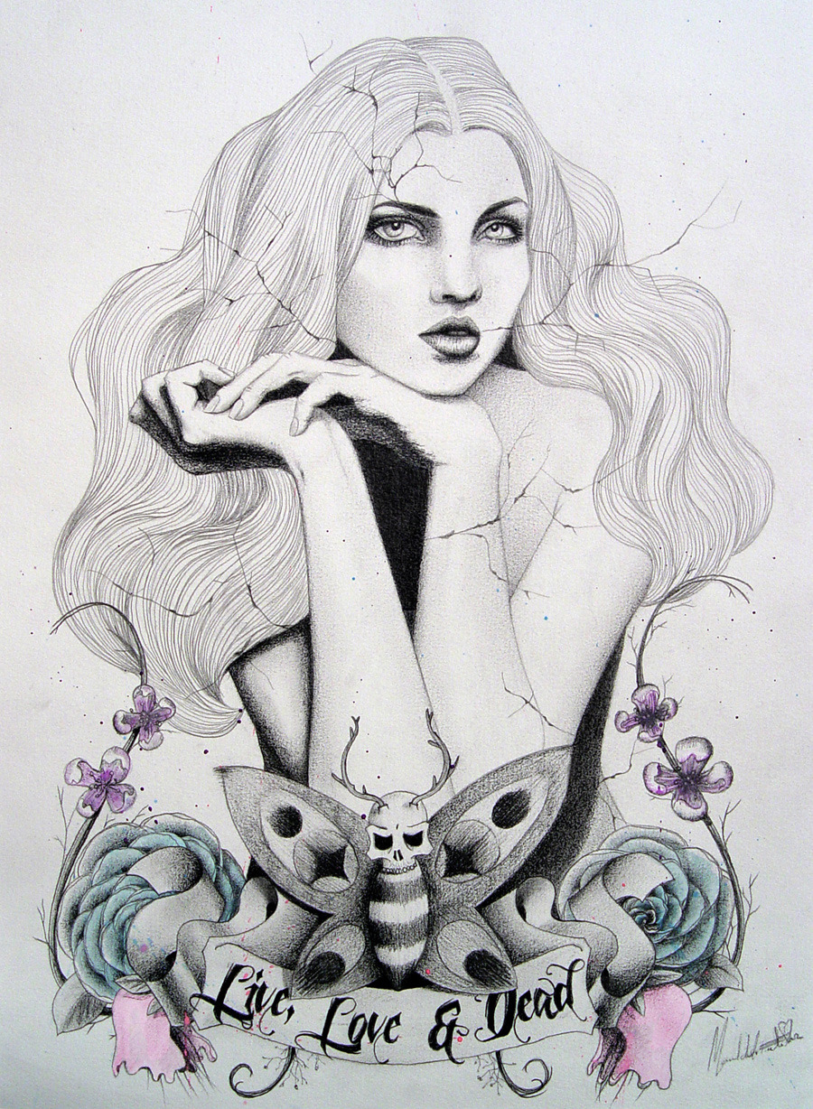 "#illustration ""LM&DR5"" / Live muses & dead roses project, pencil & watercolors, by Manuel De La Fuente Baños / manuelsart.com illustration ©2013"