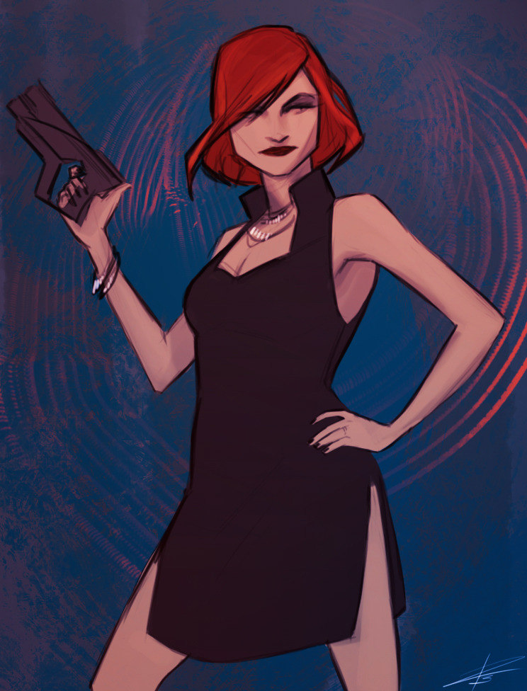 liarcowardsnake:  Sketch of Shep in her little black dress.