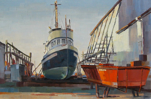 Celtic Shipyards by Ronald Threlkeld Jackson, estimated to be painted sometime between the mid 1950s to the early 1960s; Ronald Jackson passed away in 1992. This painting is up for auction this month at Westbridge Fine Art Auction House, starting with a modest $800 first bid. Ron was particularly great at capturing the romance of the BC coast, so much so that he was often the artist of choice when it came to marketing our local tourism trade. In contrast to the grandeur of steamship travel, this painting showcases the humble side of Vancouver's shipping history. From Southlands.info:  [In] 1902…B.C. Packers bought Deering Island, until 1985 known commonly as Mud Island, and Celtic Island to form the Celtic Shipyards. The cannery was closed and converted to net storage. Subsequent developments included a marine slipway to service larger vessels. Eventually, the shipyard came to be the largest on the coast for servicing wooden boats and it handled all of the B.C. Packers fleet.  Today Celtic Shipyards slowly continues to disappear into history, with only a few remnants left to remind visitors of the type of work that once transpired here. Update! The painting sold for $1,100.