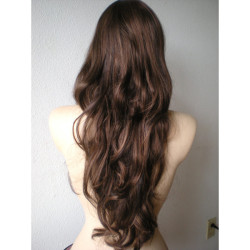 jujubinhas2s2s2:  Chocolate brown mixed with Auburn wig. Long wavy hair with long side bangs wig. Top quality Heat resistant wig.   ❤ liked on Polyvore