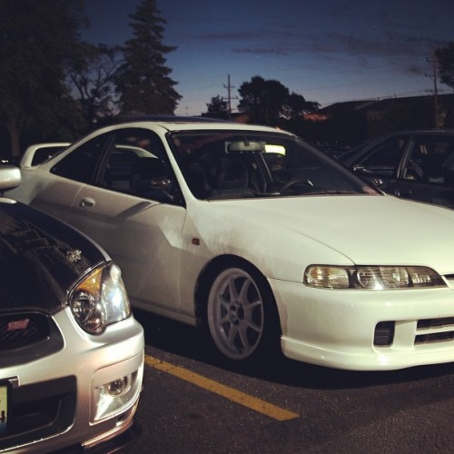 My #wrx with @jae_rex's #turbo #integra with #jdm front end. #trpcrew