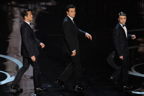 Joseph Gordon-Levitt, Host Seth McFarlane and Daniel Radcliffe perform during the  85th Annual Academy Awards