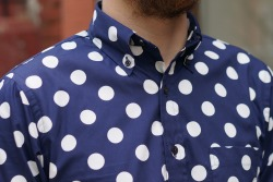 Epaulet Buttondown Collar shirt Navy with Large White Dots