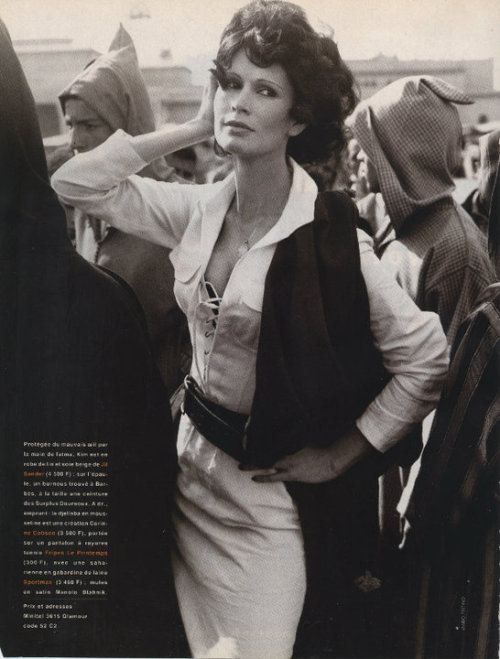 """La Voyageuse"", Glamour France, April 1993Photographer : Mario TestinoModel : Kim Williams"