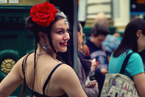 Rose girl on Flickr.Very pretty belly dancer who was performing on Waverley Station. The commuters didn't give her the attention she deserved.