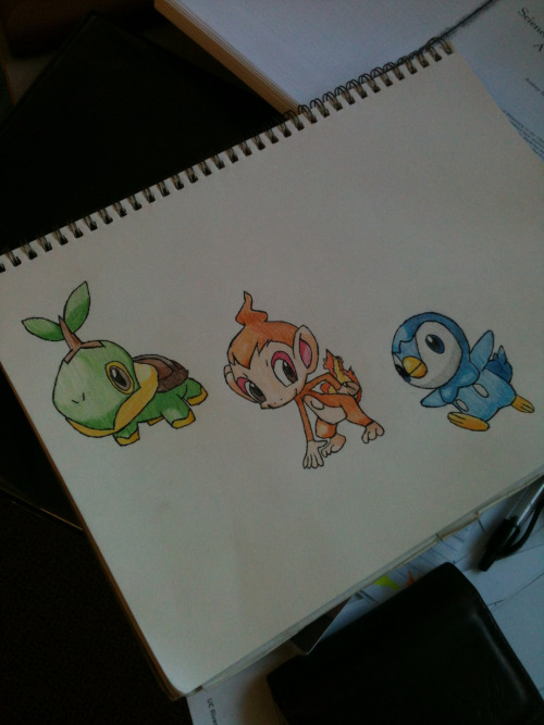 I was bored today so I decided to draw the gen 4 starters…now I just need to draw the two newest generations!
